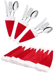 : jollylife Christmas Santa Hats Silverware Holders - Xmas Party Dinner Table Decorations Supplies: Home & Kitchen Simple Christmas, Christmas Holidays, Christmas Ornaments, Amazon Christmas, Christmas Tables, Christmas Room, Nordic Christmas, Christmas Kitchen, Modern Christmas