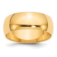 8MM Half Round Plain Wedding Band In 14K Yellow Gold