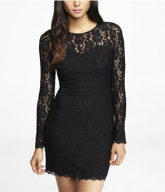 LACE OPEN BACK SHEATH DRESS | Express - just bought this. Thinking for chads company Christmas party ?!?!