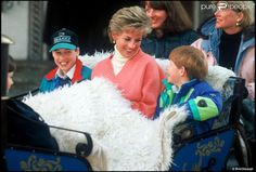 March 27, 1994: Princess Diana with Prince William, Prince Harry, Kate Menzies and Catherine Soames in Lech, Austria.