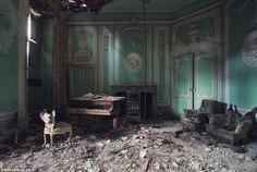 Sebastian has trekked across 7 different countries to find buildings like this old mansion in Belgium. This music room was once full of life.