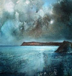The moon is up and lights are on in Salcombe by Stewart Edmondson