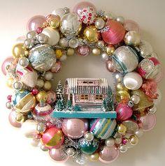 vintage Christmas ornaments wreath ~ Putz house ~ pink ~ blue ~ gold