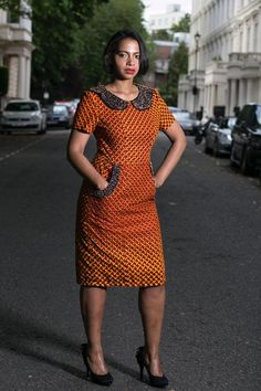 Red Embellished Collar Ankara Dress,Unique Handmade Dress,One of a Kind African Dress. African Fashion Ankara, Latest African Fashion Dresses, African Print Fashion, Short African Dresses, African Print Dresses, African Attire, African Wear, Seshoeshoe Dresses, Shweshwe Dresses
