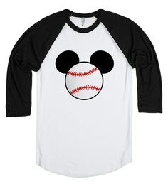 Baseball Mickey Mouse T-shirt by My heart has ears. Available in Women's, Men's and Children's sizes as well! In a variety of colors and styles! Want to add a name or other text? Just email me for your custom design at Angela@myhearthasears.com