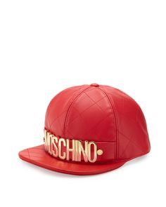 Moschino flat-bill hat in quilted sheepskin leather. Metal logo lettering across…