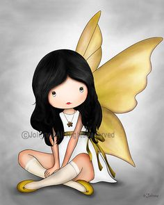 Gray Yellow angel. Illustration Art Print. Angel Poster por jolinne