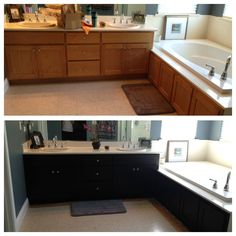 I'd love to do this in my master bath.  White to black!  What a difference it would make!