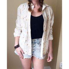 ⚡️SALE⚡️ J Crew Gold Star Button Down Shirt J Crew Gold Star Button Down Shirt with Pockets. This top is amazing, perfect over a tank or dress for spring! The shirt is an off-white color. J. Crew Tops Button Down Shirts