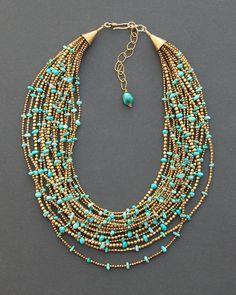 Turquoise necklace multi strand statement necklace Kingman