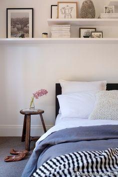 Shelves in bedroom ideas adore magazine bedrooms shelves over bed floating shelves bedroom ideas Shelving Over Bed, Shelf Over Bed, Bed Shelves, Art Over Bed, Shelf Desk, Corner Shelf, White Shelves, Home Bedroom, Bedroom Decor