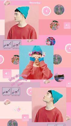 Pink Tumblr Aesthetic, Kpop Aesthetic, Pink Aesthetic, Bear Wallpaper, Pink Wallpaper, Kyungsoo, Foto Do Exo, Exo Fan Art, Exo Lockscreen