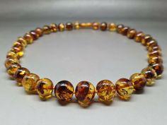 "18,5"" Genuine Baltic Amber Choker Necklace Choker Baroque Cognac #Amber #Beaded Amber Necklace, Baltic Amber, Baroque, 18th, Chokers, Beaded Bracelets, Detail, Ebay, Jewelry"