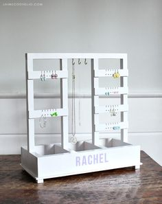 Free plans to make this jewelry holder for earrings, necklaces, bracelets and more. A DIY tutorial to build a jewelry holder with plenty of space for earrings, necklaces, bracelets and more. Free plans by Ana White. Ana White, Easy Woodworking Projects, Wood Projects, Woodworking Bench, Woodworking Beginner, Woodworking Organization, Woodworking Logo, Woodworking Machinery, Woodworking Workshop