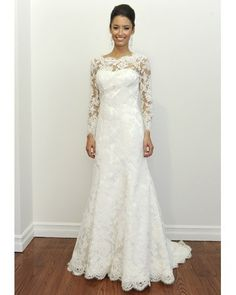 this dress is beautiful except I'd have the lace sleeves about elbow length instead of a full sleeve