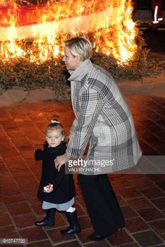 Monaco's Princesse Charlene and Princess Gabriella take part in SainteDevote festivities on January 26 2018 in Monaco Sainte Devote is the patron...