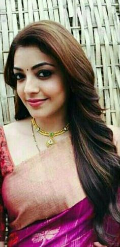 Lovely,attractive lady with sweet lips Kajal Agarwal Saree, Saree Hairstyles, Indian Bridal Sarees, Indian Celebrities, Celebrities Fashion, Indian Bollywood, Pink Lips, India Beauty, Beautiful Actresses
