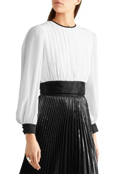 Pleated cropped georgette and stretch-silk satin top | ALICE + OLIVIA | Sale up to 70% off | THE OUTNET