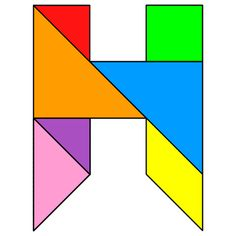Tangram Letter H - Tangram solution #114 - Providing teachers and pupils with tangram puzzle activities