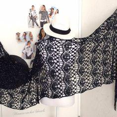 Bridal Shawl, Wedding Shawl, Knitted Poncho, Crochet Shawl, Black And White Scarf, Crochet Wedding, Autumn Clothes, Lace Scarf, Capelet