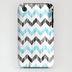 Grunge Chevron black/white/cyan iPhone 3GS Case by RobozCapoz - $35.00