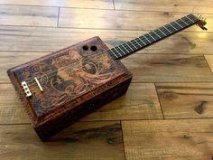4 String Gypsy Girl Acoustic Cigar Box Guitar from Pyrography art nouveau box