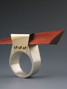 Sculpture Ring with Bloodwood - Elizabeth Lass Studio