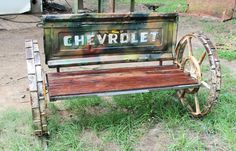 We love our Chevys. Redneck Chevrolet Camo Truck Tailgate Bench – Recycled Salvage Design