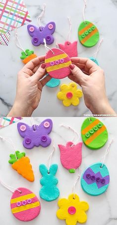 Diy Crafts For Girls, Holiday Crafts For Kids, Toddler Crafts, Diy Crafts To Sell, Dough Ornaments, Diy Easter Decorations, Easter Tree, Craft Activities For Kids, Salt Dough