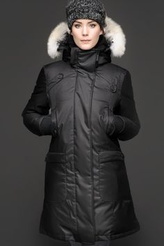 Nobis Made In Canada Goose' Down Real Coyote Fur Vest Women S
