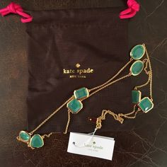 NWT Kate Spade Vegas Jewels Scatter Necklace NWT!  Kate Spade Vegas Jewels Scatter Necklace. Color is turquoise and gold. Length is ~ 30 inches. Comes with Kate Spade dust bag. kate spade Jewelry Necklaces