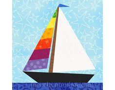Paper piece a regatta of sailboats! This instant download pattern contains three different and easy-to-sew sailboat designs, in both left- and right-facing versions - a total of 6 patterns. The 6 inch (15.2cm) finished size block can be easily enlarged or reduced to whatever dimensions you need, using the included resizing chart. Customize your yachts by adding pieced stripes to the jibs and/or mainsails. The star may be added by embroidery, a button or bead, or fussy-piecing a single mo...