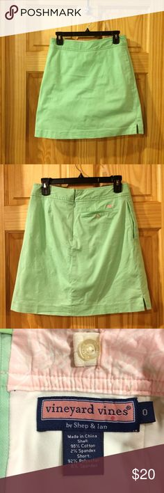 "Vineyard Vines Light Green Skort Preppy green skirt with built-in lining. Has light wear throughout and a tune mark on right side (see last pic). Has side pockets. Zips at back.   Waist: 25"" Hips: 36"" Length: 18.5"" Vineyard Vines Skirts"