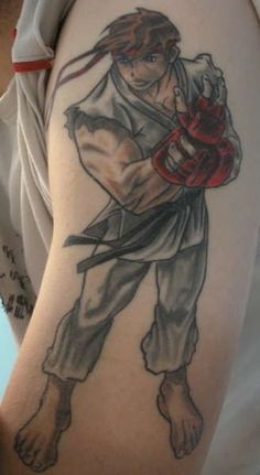 Ryu for my man Video Game Tattoos, Tattoo Videos, Tribute Tattoos, Gaming Tattoo, School Videos, Video Game Characters, Street Fighter, Tattoo Inspiration, I Tattoo