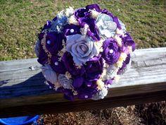 Rustic brid bouquet Sola bouquet, purple and gray sola flower bouquet, wedding bouquet, bridal bouquet, keepsake flowers, rustic wedding by LittleBlueBirdSays on Etsy
