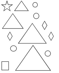 Christmas tree template with shapes (star, square