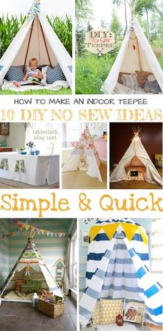 How To Make An Indoor Teepee: 10 DIY No Sew Ideas. I researched easiest and quickest indoor teepee ideas and put everything in this article ;) Diy Projects, Sewing, Holiday Decor, Ideas, Home Decor, Homemade Home Decor, Needlework, Couture, Sewing Trim