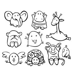 Cute baby animals vector on VectorStock®