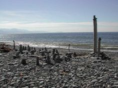Stacked stones on Dungeness Spit, Sequim WA