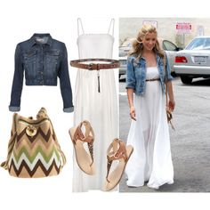"""""""White maxi dress & Denim jacket"""" by madaboutbasics on Polyvore   I would change the brown items for red ones."""