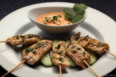 Chicken Satay for WLS patients.. Total: 109 calories, 16 gm protein, 1 gm carbohydrate, and 1 gm fat