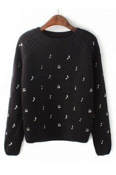 Music ...Music .... Music !!! LOVE this sweater! Black Musical Note Embroidery Loose Sweater! This is such a cool idea!