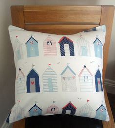 Beach huts seaside nautical blue red Cushion cover case sham  One 18 x 18 Throw pillow.