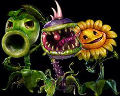 Pea shooter, chomper, sun flower. Plants vs zombies garden warfare