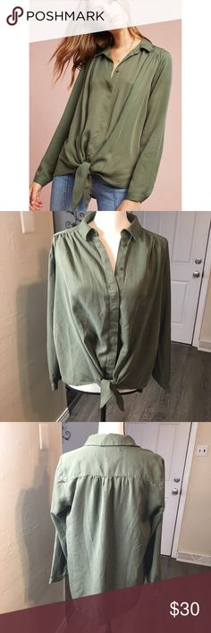 d707b0b15b3 Anthropologie Maeve Tuesday Blouse Medium Anthropologie Maeve Tuesday  Blouse Medium Olive Green Tie Waist Button Up Maeve Tops Blouses