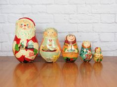 Cute Holiday Decor - Set of 5 Vintage Christmas Nesting Dolls by FireflyVintageHome - $24.00