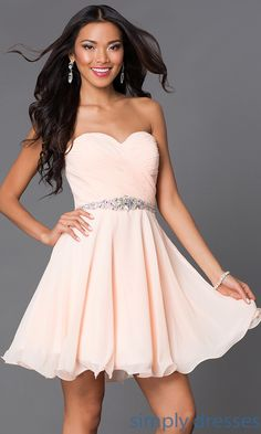 Shop short beaded lace up bodice semi formal dresses at Simply Dresses. Strapless sweetheart short prom dresses available in plus sizes for prom.
