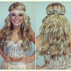 Prom hair wedding hair long hair wavy hair curly hair barrel curls hair accessories head band hair all down hippie hair www. Sleek Hairstyles, Homecoming Hairstyles, Wedding Hairstyles For Long Hair, Curled Hairstyles, Diy Hairstyles, Pretty Hairstyles, Hair Wedding, Barrel Curls, Hippie Hair