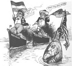 Political Cartoon of the USA promising revenge to Germany for the sinking of the Lusitania