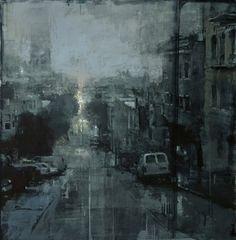 Jeremy Mann - Nocturne. Oil on Panel, 15x15 in.